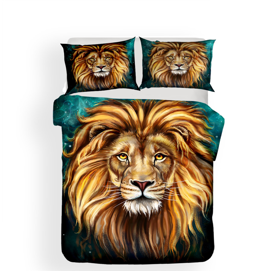 Image 2 - Bedding Set 3D Printed Duvet Cover Bed Set Lion Home Textiles for Adults Lifelike Bedclothes with Pillowcase #SZ02-in Bedding Sets from Home & Garden