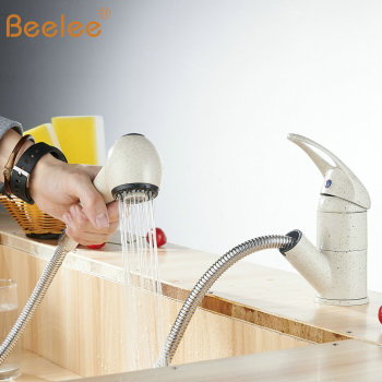 Beelee Cream color Kitchen Sink Faucet Pull out 100% copper Single Hole Single Handle Basin Mixer Tap