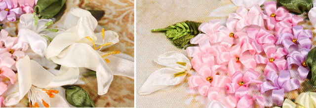 Online Shop Color Silk Ribbons Embroidery Patterns Paintings Pink