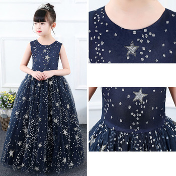 Cielarko Formal Girls Long Dress Sequin Star Princess Evening Dresses Pageant Kids Party Ball Gown Children Vintage Frock 3-13Y
