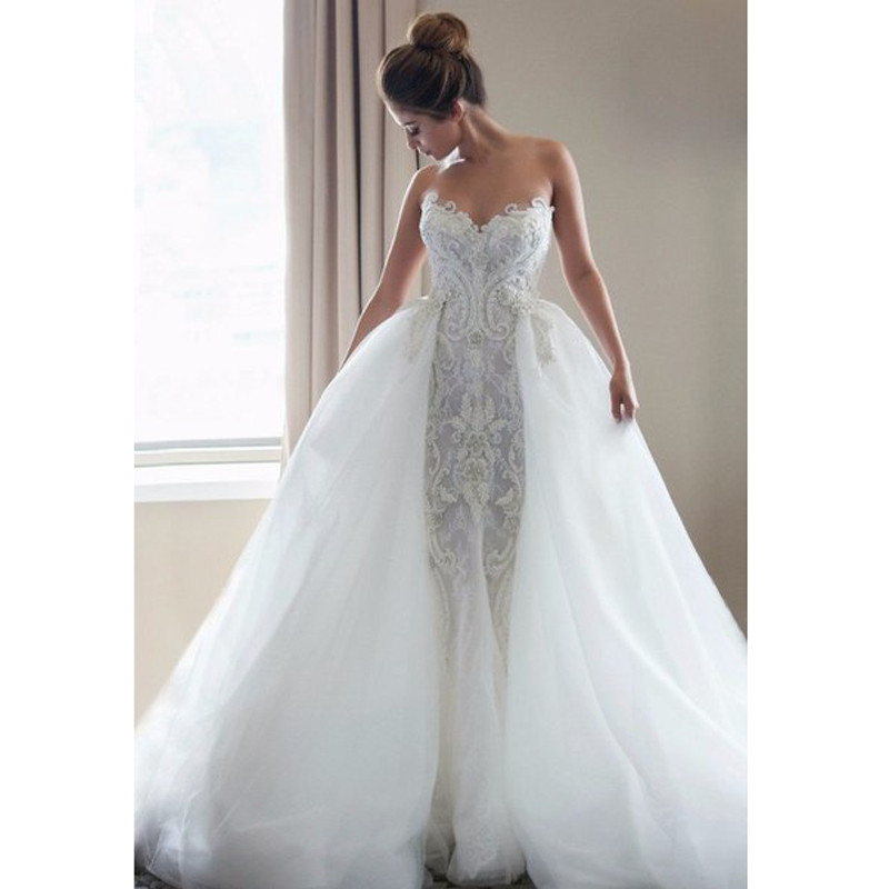 Beaded Wedding Dress With Detachable Train: Brilliant Appliques Beaded Lace Mermaid Wedding Dress With