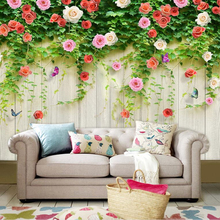 Beibehang Customwall rattan rose background mural home decoration living room Ma