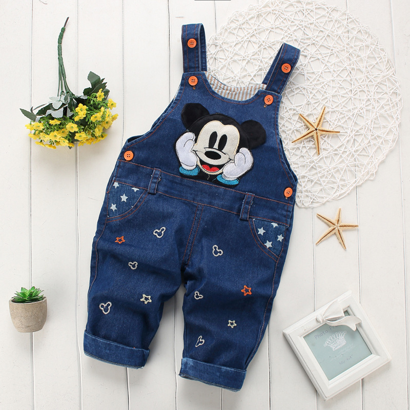 BibiCola spring fashion leisure Pant for Baby Girls bib pants children Denim Overall Trousers kids cartoon infant jeans