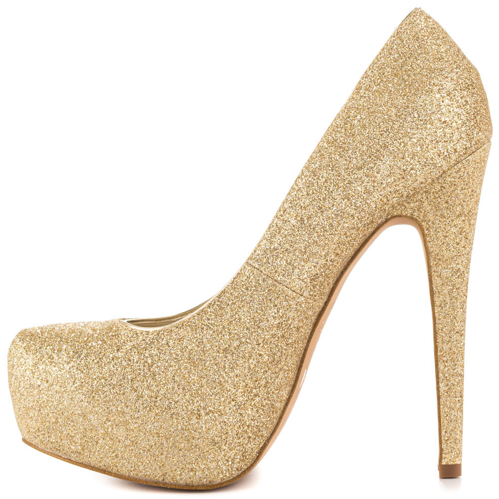 Gold Glitter High Heels - Qu Heel