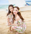 Retail KIDS MOM daughter 2017 Parent-child outfit fashion print dress seaside beach holiday travel Good quality clothes  XH1880