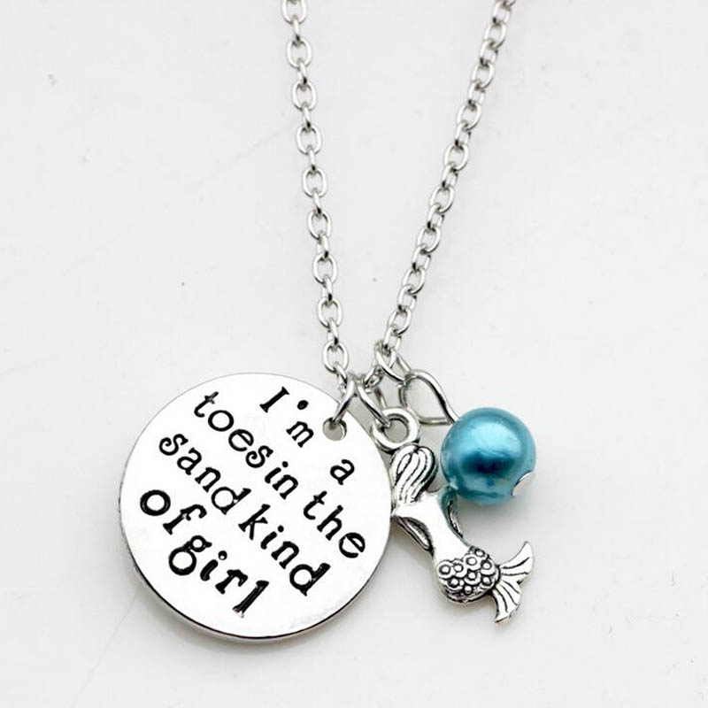20pcs/lot New Fashion necklace Little mermaid Necklace I m a toes in the Sand kind of girl Charm Pendant necklace Jewelry gift