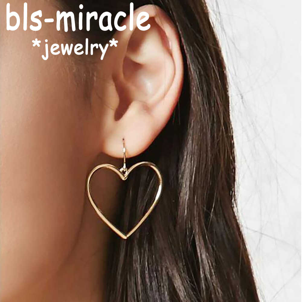 Bls-miracle Retro Fashion Bohemia Earrings Gold Color Heart Design Dangle Earring Best Gift For Lover's Girl Accessories  E367