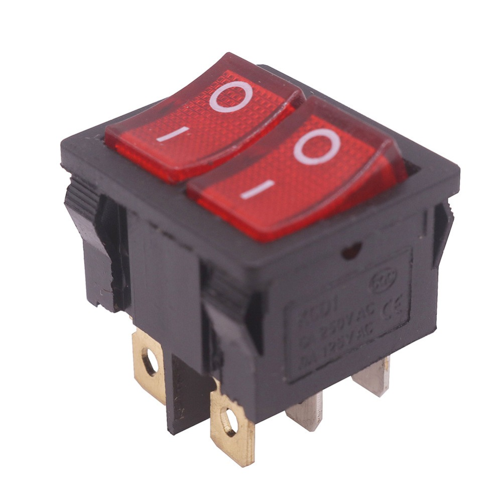Wholesale 20 Pcs 6 Pin 6A 250V AC 10A 125V AC 20*20*23mm Switch Rocker Switch 6 Plugs Double Row Switch Electrical Accessories