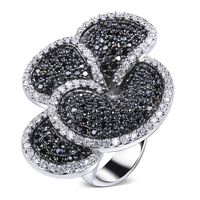 Nice Flower Black And White Ring White Gold Plated Cubic Zirconia CZ Lastest Designs New Fashion