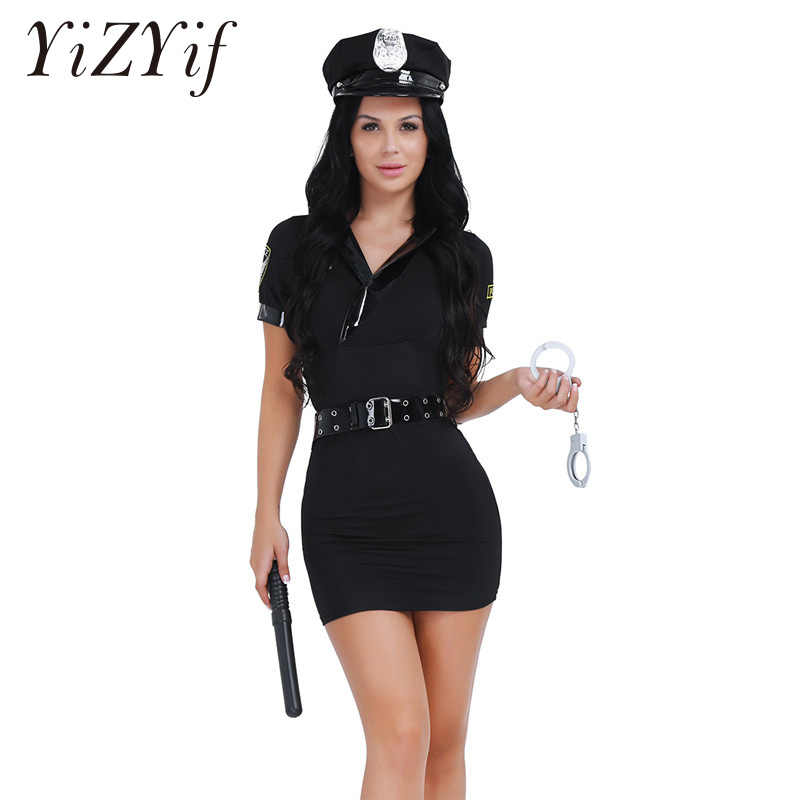 32495de93f9 YiZYiF Women s Sexy Police Uniform Officer Set Policewoman Halloween Costume  Dress with Handcuff Movie Role Play