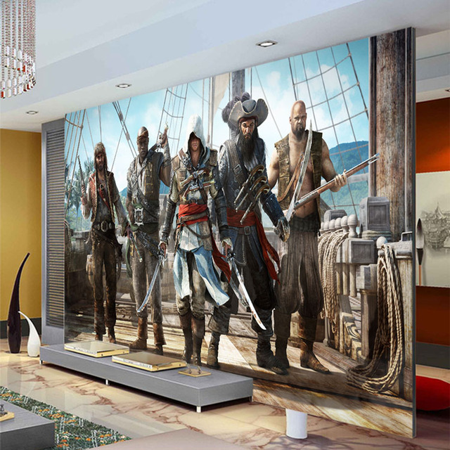 Animal Print Wallpaper For Bedrooms Assassion S Creed Wallpaper Video Game Wall Mural 3d Photo