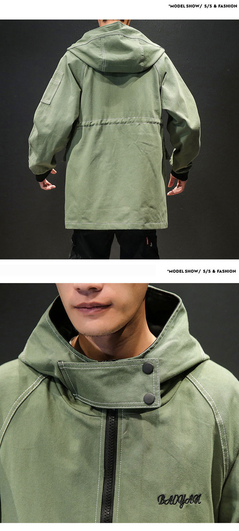 Army Green Trench Coat Men Korean Style Fashion Clothing Male Hooded Trench Coat Jacket   (11)