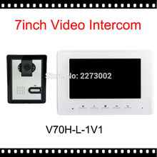 """V70H-L 7 """"TFT Color Video de La Puerta Sistema de Intercomunicación Del Timbre Del Teléfono Kit IR Cámara Altavoz del monitor de Vídeo Portero Automático Sistema de intercomunicación"""