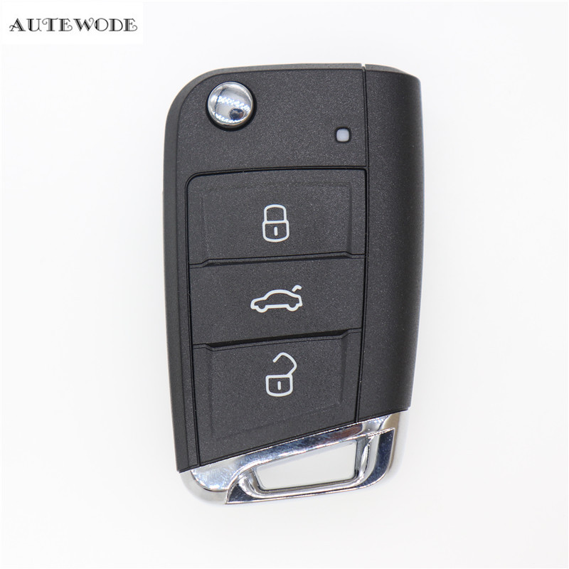 AUTEWODE Replacement <font><b>remote</b></font> Car <font><b>Key</b></font> Shell for VW <font><b>Golf</b></font> <font><b>7</b></font> 3 buttons auto <font><b>key</b></font> blank fob 1pc image