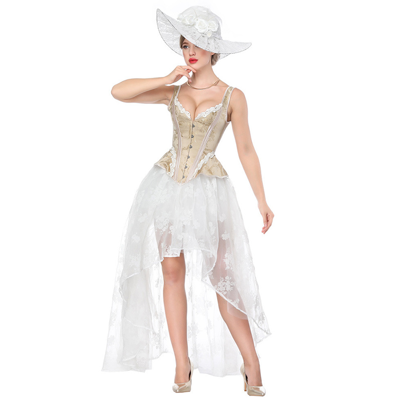 Beige Corselet Steampunk vêtements gothique Korsett pour les femmes Sexy Corsets et Bustiers victorien Corset robes robe Burlesque
