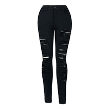 New Winter Black High Waist Skinny Denim Jeans For Female Star Tearing Jeans Cowboy Trousers Ripped Pants Female Sexy Girls