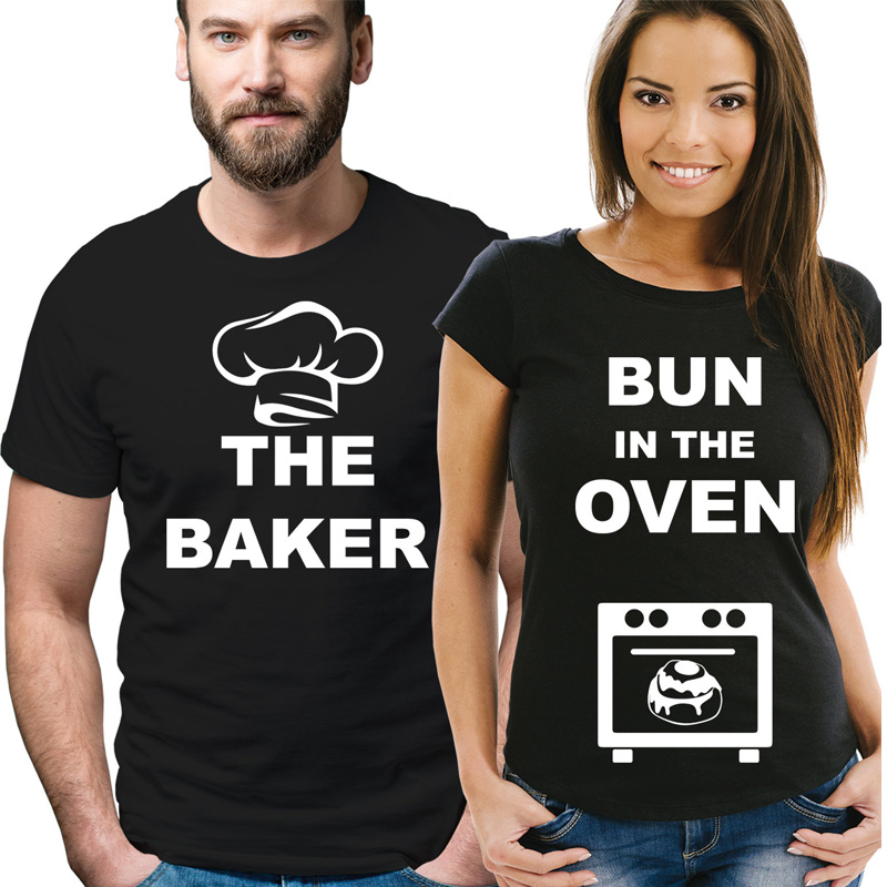 Pkorli Pregnancy Reveal Couple T-Shirts Men Women The Baker And Bun In The Oven Graphic Printed Tee LOVE Matching Couples