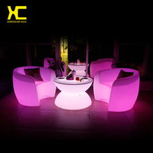 Chargeable Remote Control LED Coffee Table Illuminate Round Plastic Outdoor Tables Living Room Garden Furniture Set