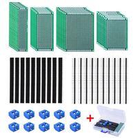 Tüketici Elektroniği'ten Devreler'de ABKT 30 adet çift taraflı PCB kartı prototip kiti 4 boyutları devre 20 adet 40 Pin 2.54mm erkek ve dişi başlık bağlantı