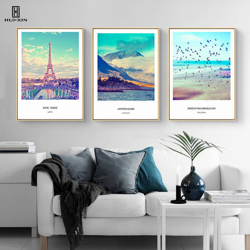 Nordic Composite Pictures Of Roseate Tall Iron Tower Standing On The Lake Decorative Canvas Posters Paintings For Room Decor