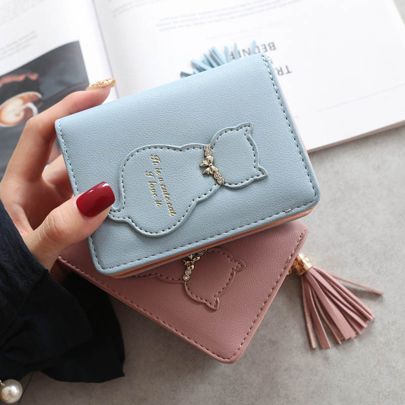 Women Tassel Short Cat Wallet Zipper Coin Purse Small Change Card Holder Purse 2019 New Wallet Woman Carteira Portefeuille Femme