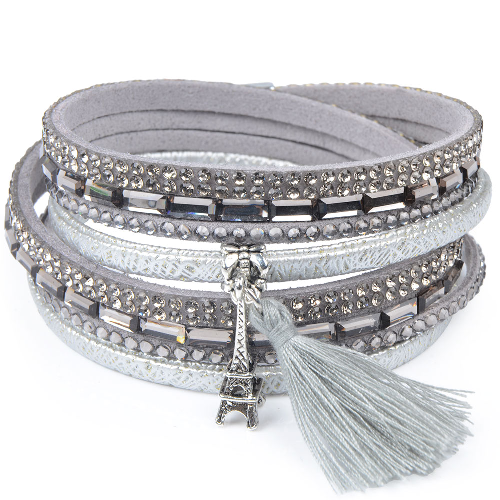 Rhinestone Feather Wide Multilayer Leather Bracelet Magnetic Tassel Bracelet Women Wrap Charm Boho Bohemian Bracelets Bangle Men 9