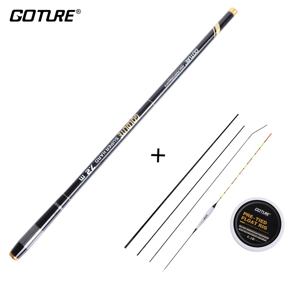 Goture 3.6-7.2M Telescopic Fishing Rod 2:8 Super Hard Light Weight Strong Stream Hand Fishing Pole Float Carp Fishing Rig Set