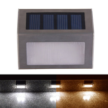 Solar Powered LED Pathway Step Stair Lamp  Outdoor 2LED Bright Light Garden Pathway Wall Lamp Pure White, Warm White