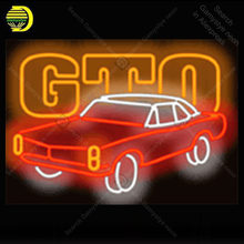 GTO Neon Light Sign Car Real Glass Tube Handcraft Neon Bulbs Sign Recreation Room Garage Wall Neon Sign Neon Decoration 17x14(China)
