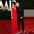 Selena Gomez Column V-neck Red Chiffon Spaghetti Strap Floor Length Oscars Celebrity Dresses Free Shipping