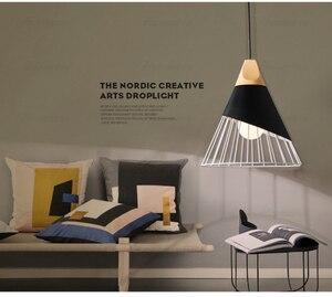 Image 4 - أضواء معلّقة خشبية حديثة مصباح ملون من الحديد مصباح إضاءة لغرفة الطعام مصباح متدلي للإضاءة المنزلية
