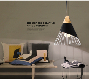 Image 4 - Modern Wood Pendant Lights Lamparas Colorful iron lamp shade Luminaire Dining Room Lights Pendant Lamp For Home Lighting