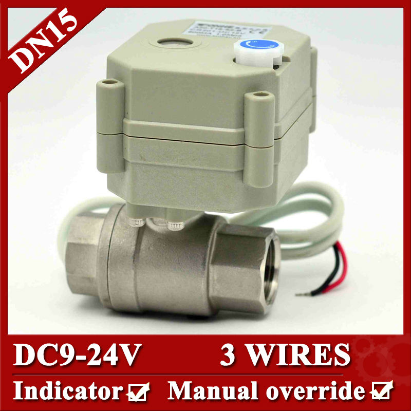ФОТО 1/2'' DC9-24V SS304 Motorised Valve, 3 wires 2 way electric water valve  with indicator and manual override