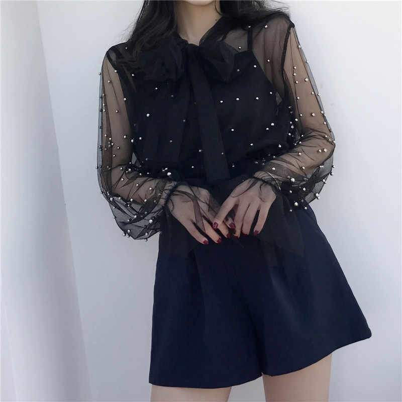 a3f744ce9d66 ... Neploe Blouse 2019 Summer Spring Women Chiffon Shirt Gauze Bow Beading  Female Blouses Tops Office Shirts ...