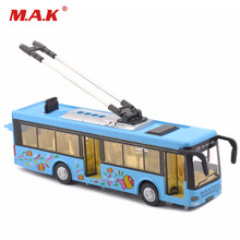 Kids Toys Alloy Sightseeing Bus Model 1/32 Trolley Bus Alloy Diecast Tram Bus Vehicles Car Toy W Light & Sound(China)