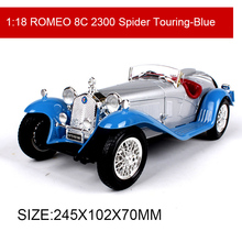 BBUAGO 1:18 Romeo 8C 2300 Spider Touring Classic Cars Alloy Car Metal Vehicle Collectible Models toys For Gift Collection