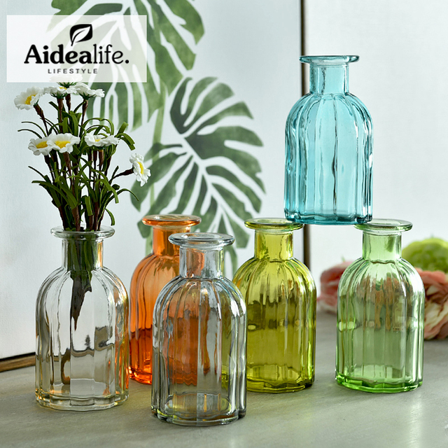 Colored Glass Flower Vases Plant Container Vases For Centerpieces
