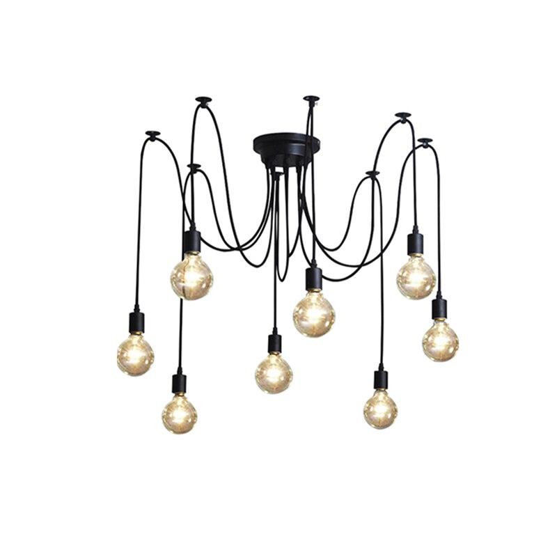 Vintage Nordique Araignée Pendentif Lampe Rétro Edison Ampoule Lustre Loft  Multiples Réglable Lampes Plafond Lampe Luminaire 6a458f075edf