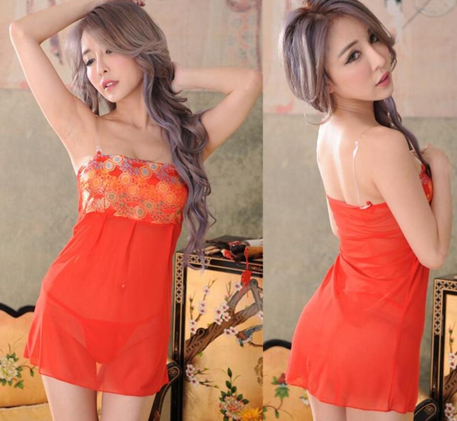2019 Women Sexy Red Silk Satin Wrapped Chest Sexy Sleepwear Nightwear Underwear Lounge Nightgowns Sleepshirts