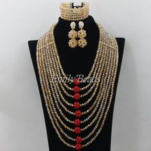 Latest Design Gold Red African Wedding Bridal Jewelry Set Crytal Beads Braided Fashion Women Jewelry Set Free Shipping AIJ149