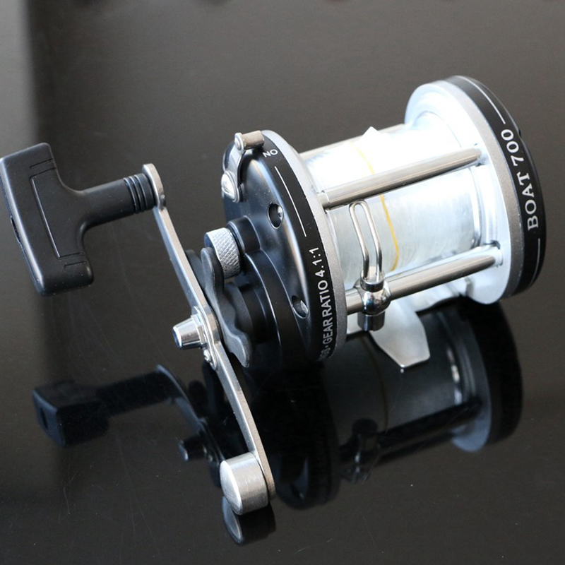 2BB 4.1:1 Boat Fishing Reel With 10# Sufix Line Trolling Reel Right Hand Casting Wheel For Sea Fishing