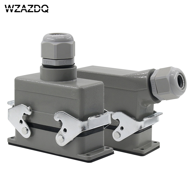 Rectangular heavy-duty connector HE-016 core industrial waterproof aviation plug socket outlet line or side outlet 16A 500V AZDQ heavy duty connectors hdc he 024 1 f m 24pin industrial rectangular aviation connector plug 16a 500v