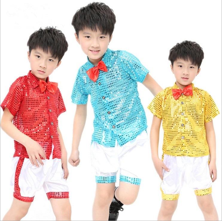 20pcs lot Free Shipping Sequin Children Hip Hop Clothing Stage Ballroom Dancing Costumes Kids Boys Girls