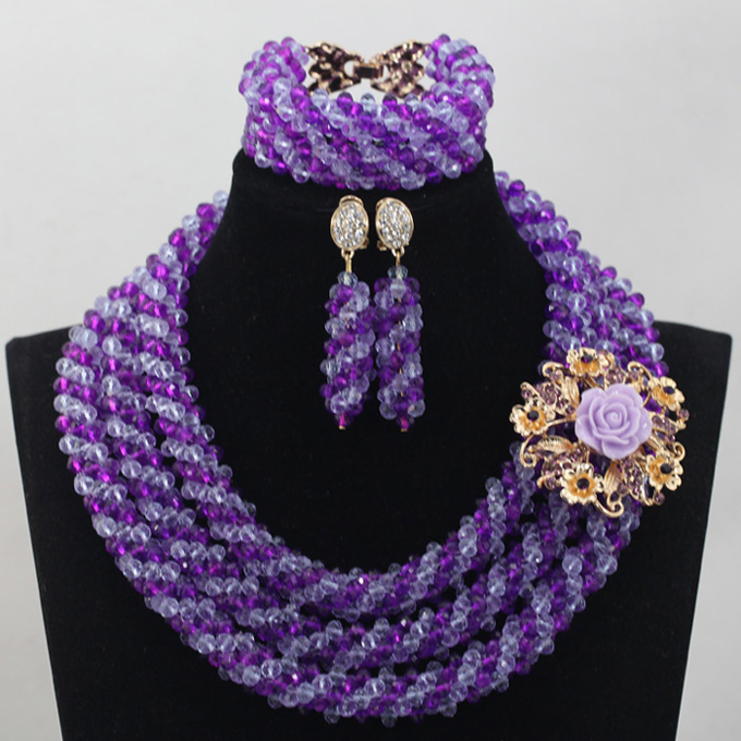 Charms Purple African Wedding Bridal Jewelry Set Crystal Nigerian Costume Beads Jewelry Set Gift for Women Free Shipping QW397 цены онлайн