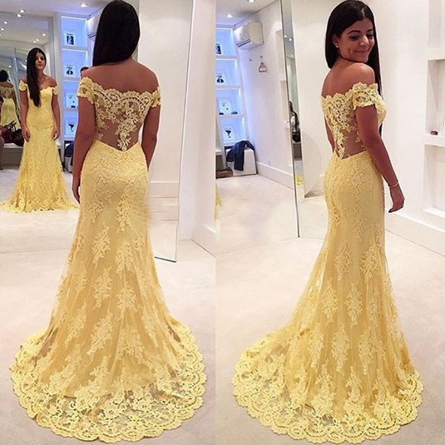 2017 Elegant Yellow Lace Boat Neck Mermaid Long Evening dress Plus Size Cap Sleeve Appliqueds Prom