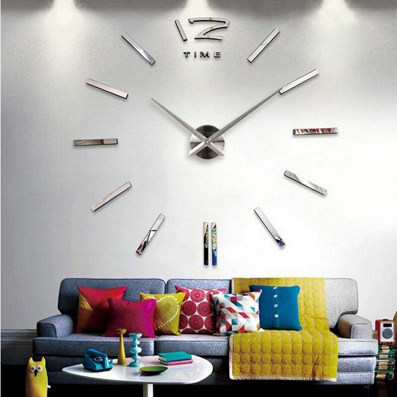 Reloj de pared grande 3d real rushed mirror pared pegatina diy sala de estar decoración del hogar relojes de moda llegada Relojes de pared de cuarzo