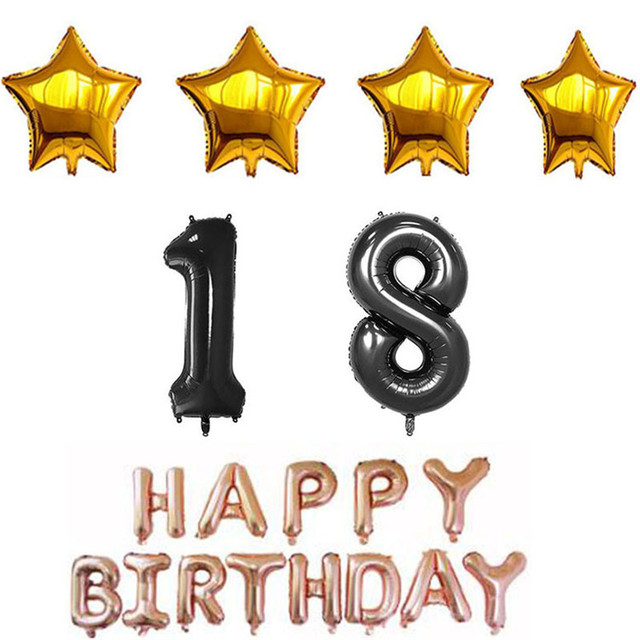 Happy 18th Birthday Balloons Alphabet Letters Hanging Party Decorations 9colors