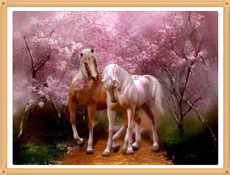 Cherry blossom woods Two horses 40X30cm Colored diamond painting cross stitch embroidery full diamond Handmade home