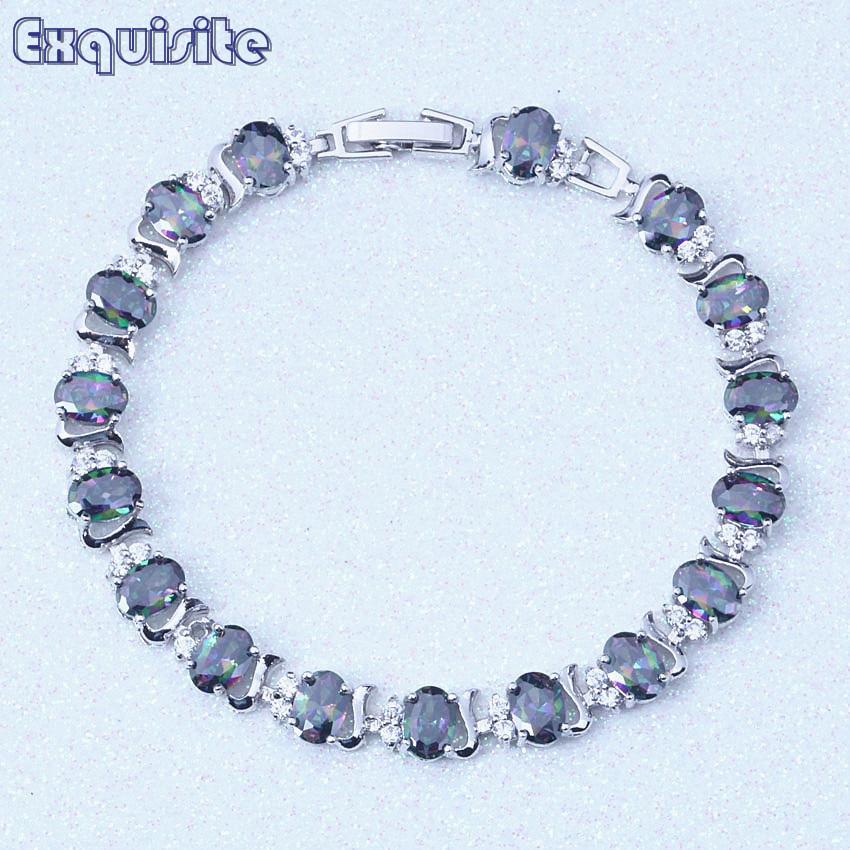 Romantic Rainbow Mystic Cubic Ziconia Charm Bracelet for Women bracelets & bangles Trendy Jewelry Valentines Day Gift S013