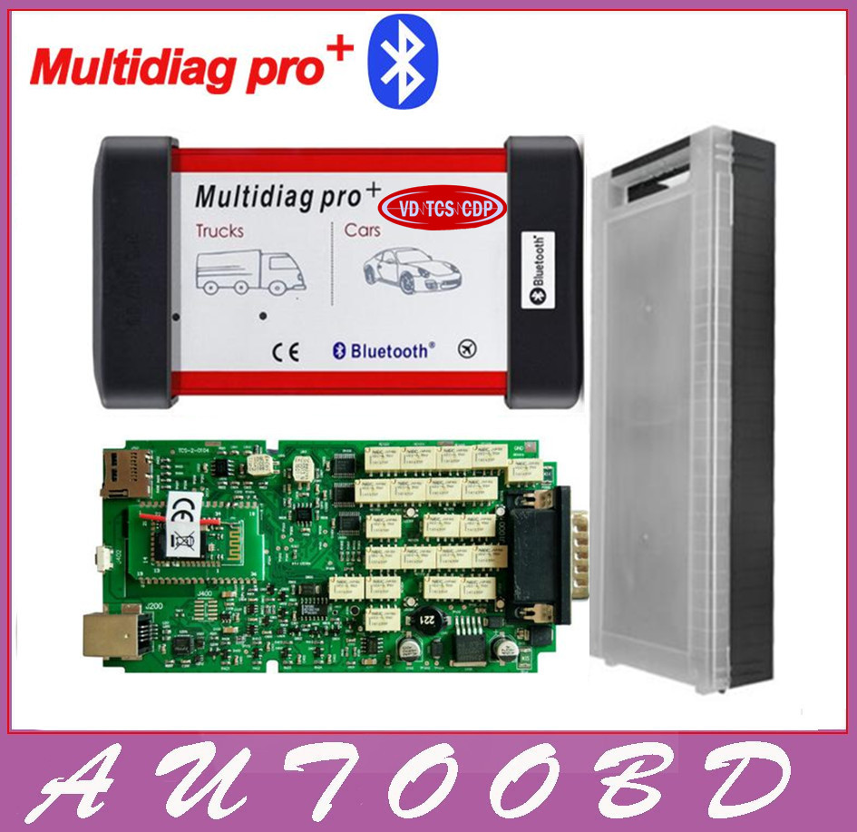 New VD TCS CDP Multidiag Pro+Bluetooth with Single Green Board PCB chip+Plastic Box for Cars Trucks OBD2 Scanner diagnostic tool single green board multidiag pro 2014 r2 keygen